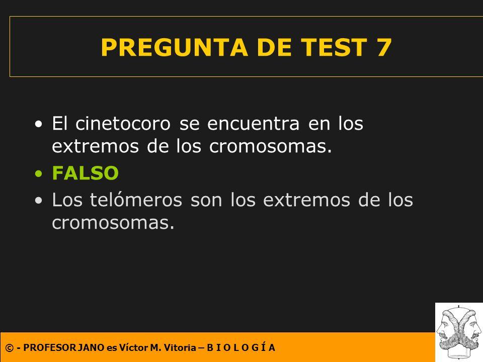 PREGUNTA DE TEST 7 El cinetocoro se encuentra en los extremos de los cromosomas.