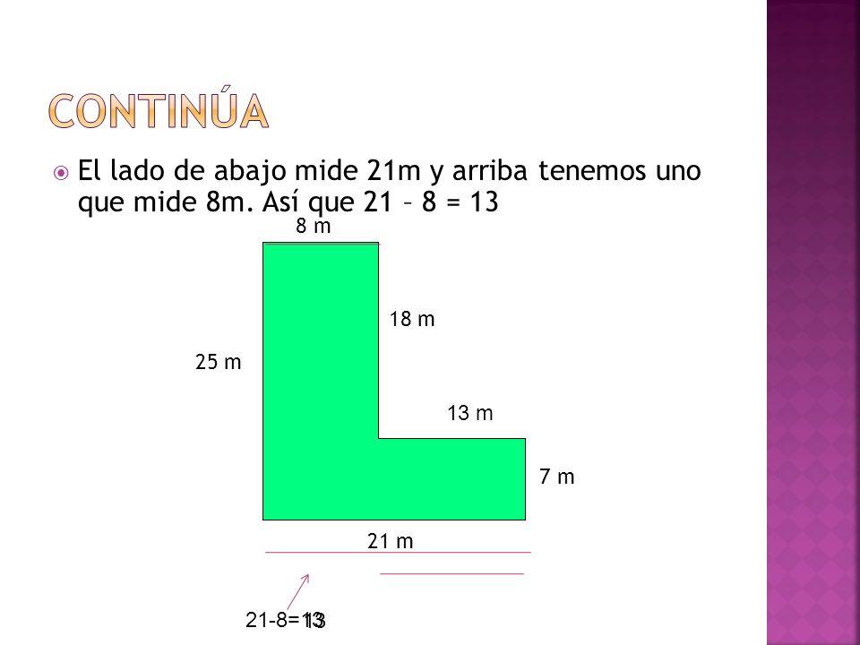 ContinúaEl lado de abajo mide 21m y arriba tenemos uno que mide 8m. Así que 21 – 8 = 13. 8 m. 18 m.
