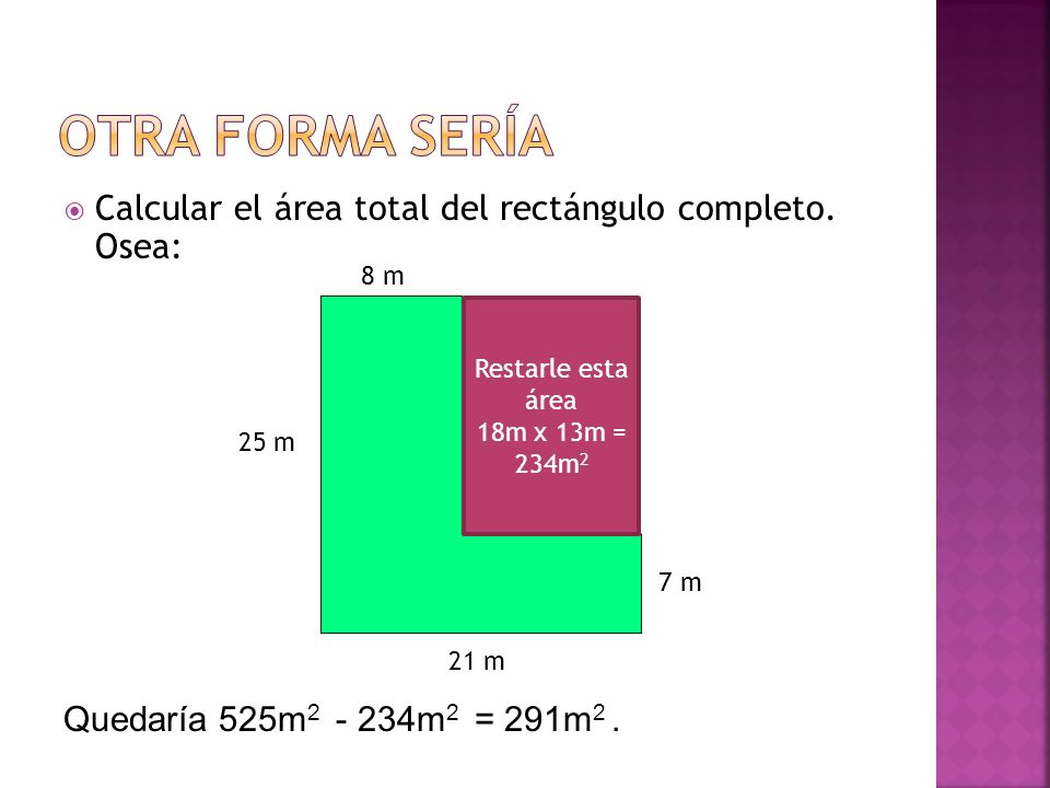 Otra forma sería Calcular el área total del rectángulo completo. Osea: