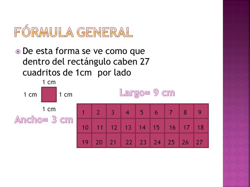 Fórmula general Largo= 9 cm Ancho= 3 cm