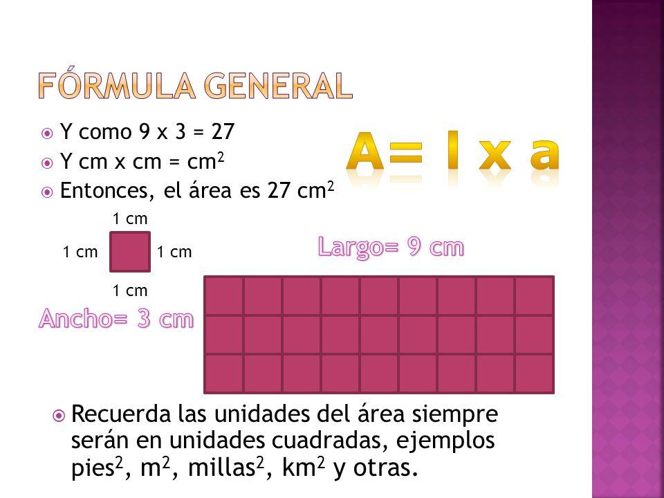 A= l x a Fórmula general Largo= 9 cm Ancho= 3 cm