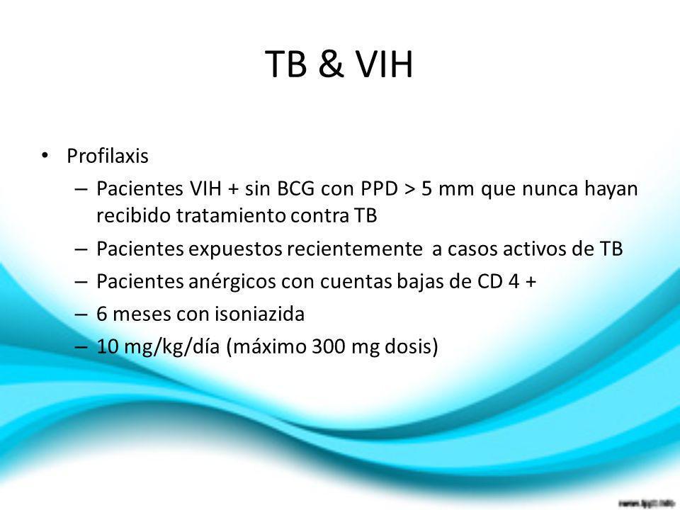 TB & VIHProfilaxis. Pacientes VIH + sin BCG con PPD > 5 mm que nunca hayan recibido tratamiento contra TB.