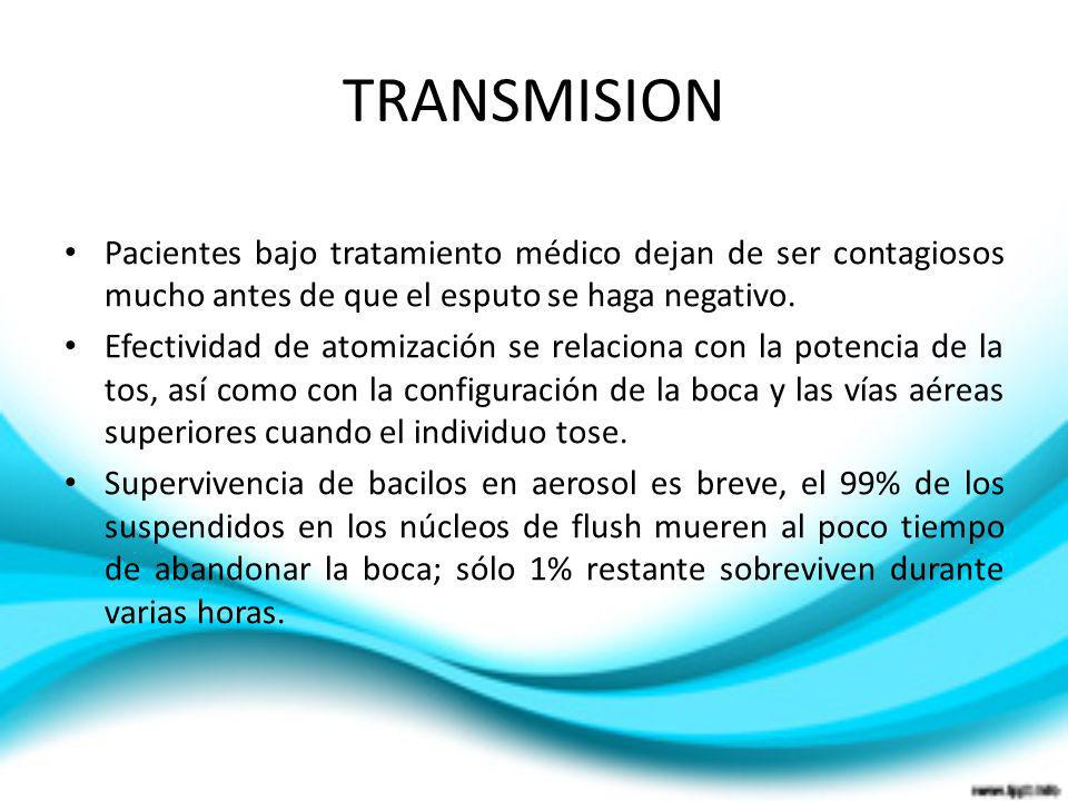 TRANSMISIONPacientes bajo tratamiento médico dejan de ser contagiosos mucho antes de que el esputo se haga negativo.