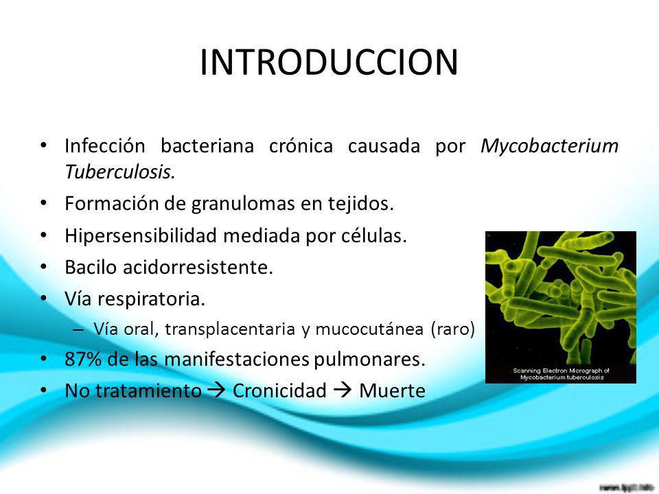 INTRODUCCIONInfección bacteriana crónica causada por Mycobacterium Tuberculosis. Formación de granulomas en tejidos.