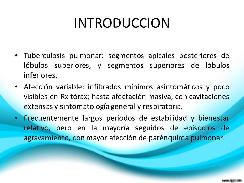 INTRODUCCIONTuberculosis pulmonar: segmentos apicales posteriores de lóbulos superiores, y segmentos superiores de lóbulos inferiores.