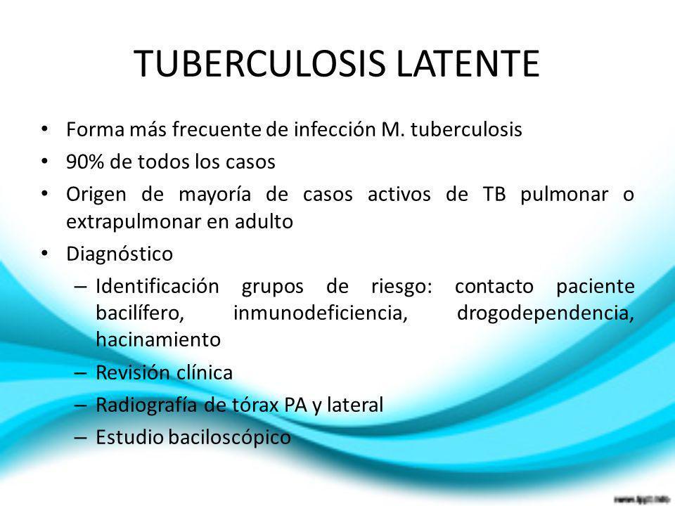 TUBERCULOSIS LATENTE Forma más frecuente de infección M. tuberculosis