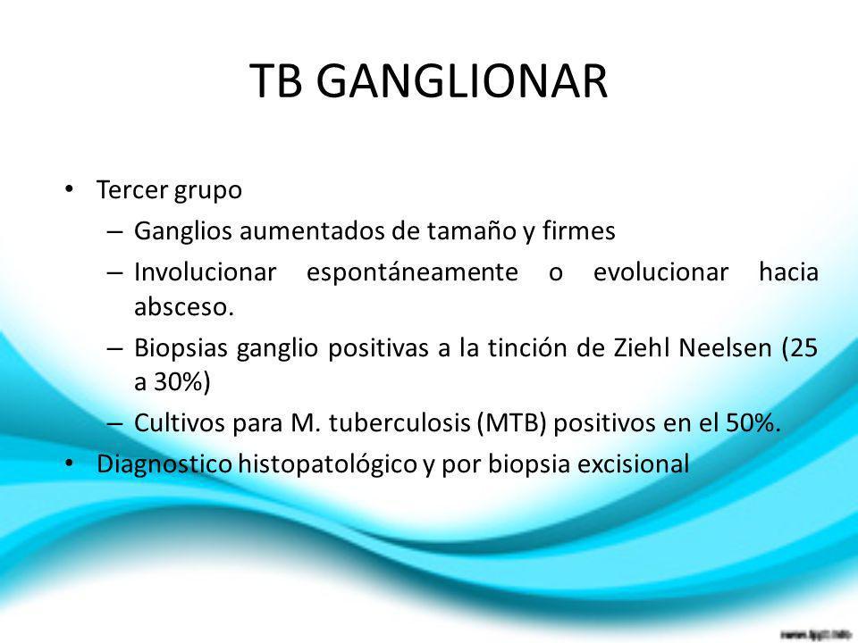 TB GANGLIONAR Tercer grupo Ganglios aumentados de tamaño y firmes