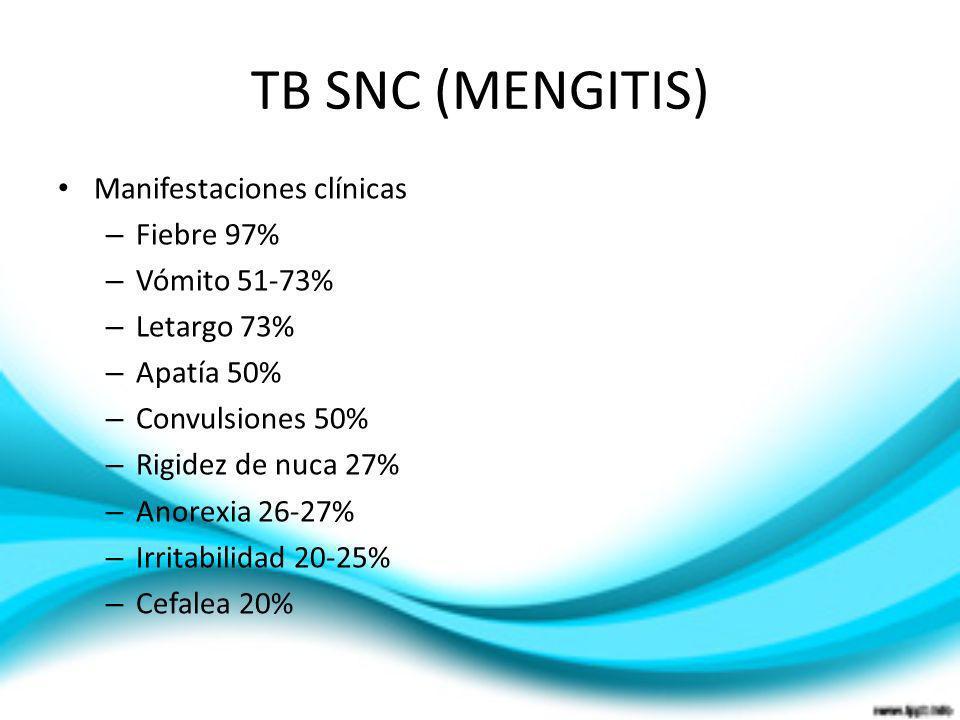TB SNC (MENGITIS) Manifestaciones clínicas Fiebre 97% Vómito 51-73%
