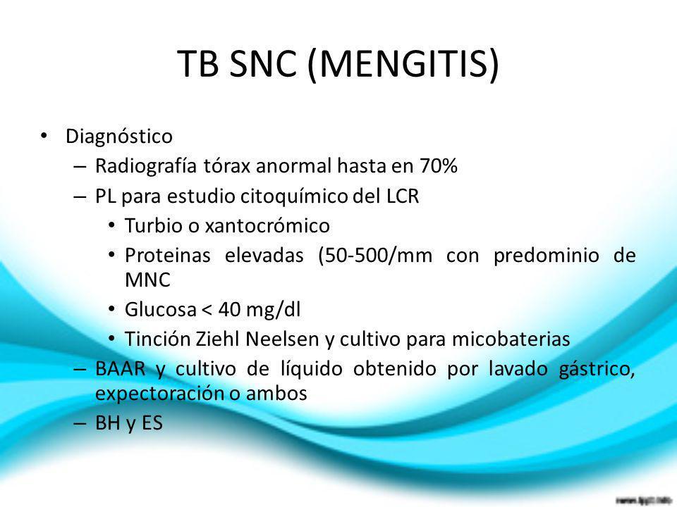 TB SNC (MENGITIS) Diagnóstico Radiografía tórax anormal hasta en 70%