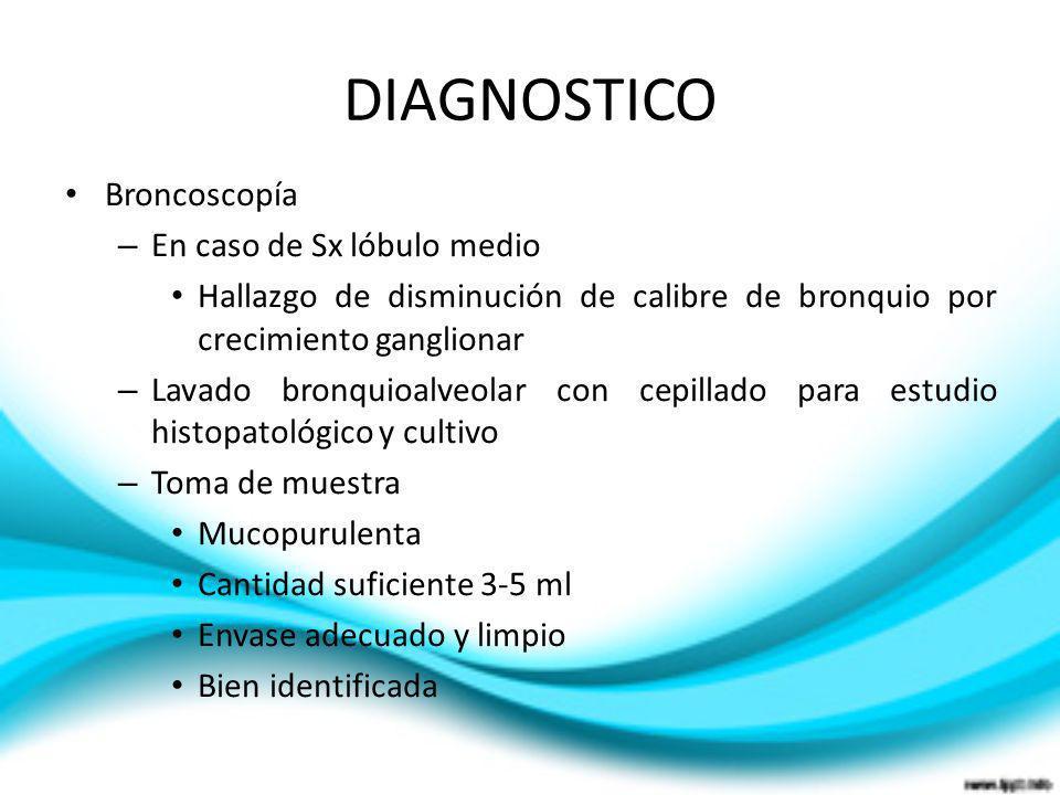 DIAGNOSTICO Broncoscopía En caso de Sx lóbulo medio