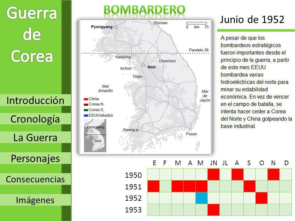 Guerra de Corea bombardero Junio de 1952 Introducción Cronología