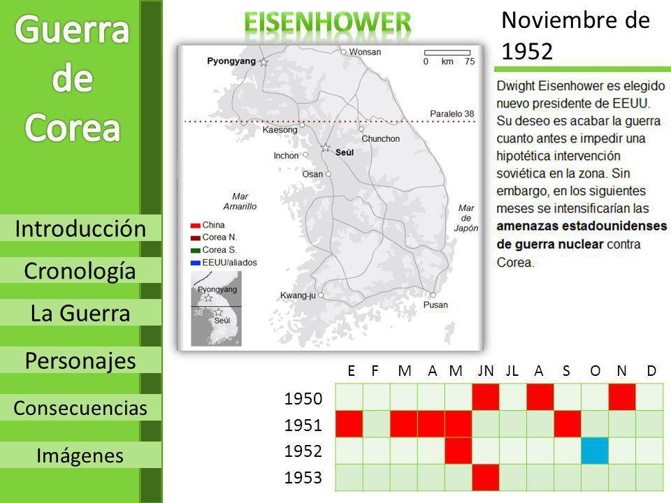 Guerra de Corea eisenhower Noviembre de 1952 Introducción Cronología