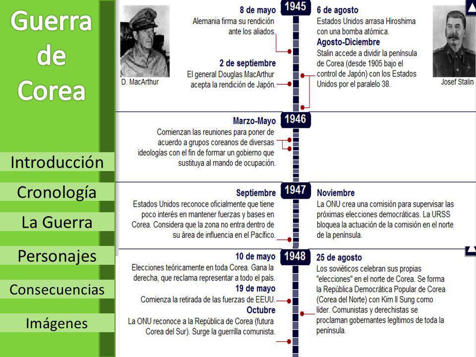 Guerra de Corea Introducción Cronología La Guerra Personajes