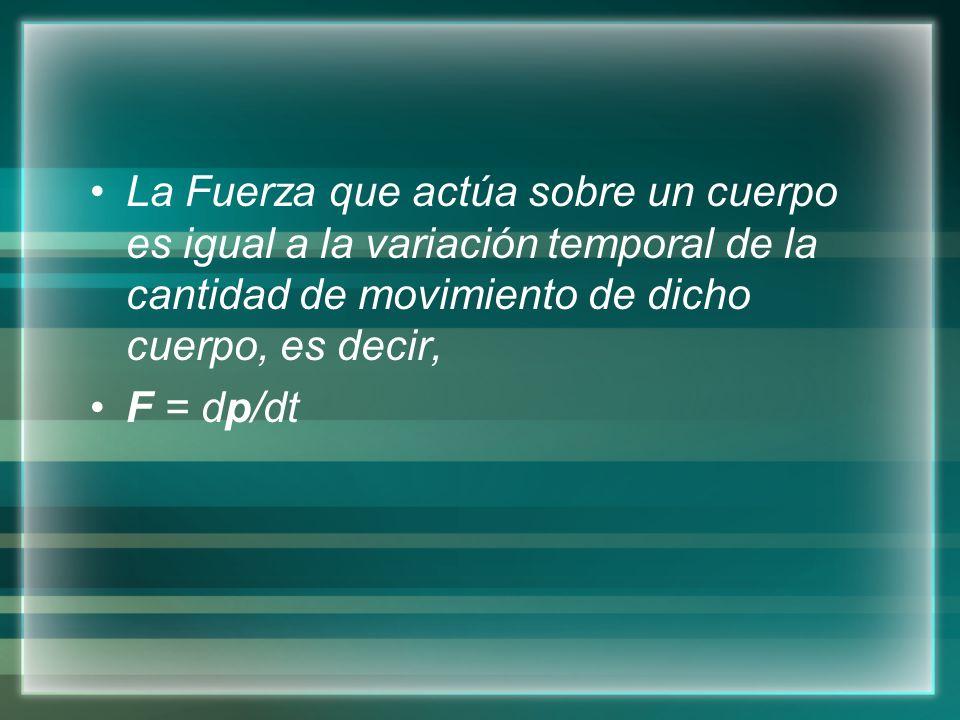 La Fuerza que actúa sobre un cuerpo es igual a la variación temporal de la cantidad de movimiento de dicho cuerpo, es decir,