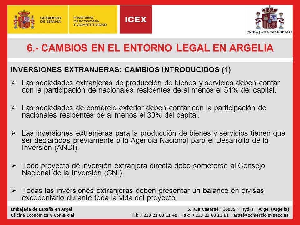 6.- CAMBIOS EN EL ENTORNO LEGAL EN ARGELIA