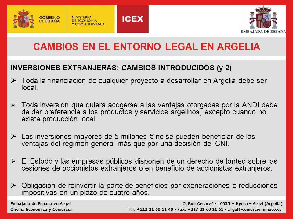 CAMBIOS EN EL ENTORNO LEGAL EN ARGELIA
