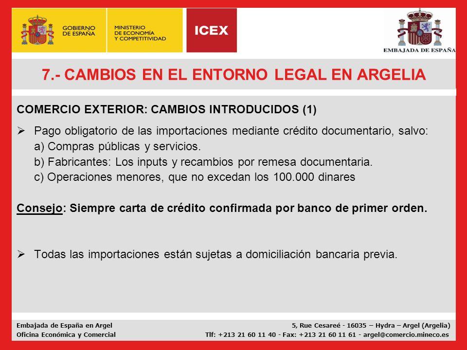7.- CAMBIOS EN EL ENTORNO LEGAL EN ARGELIA