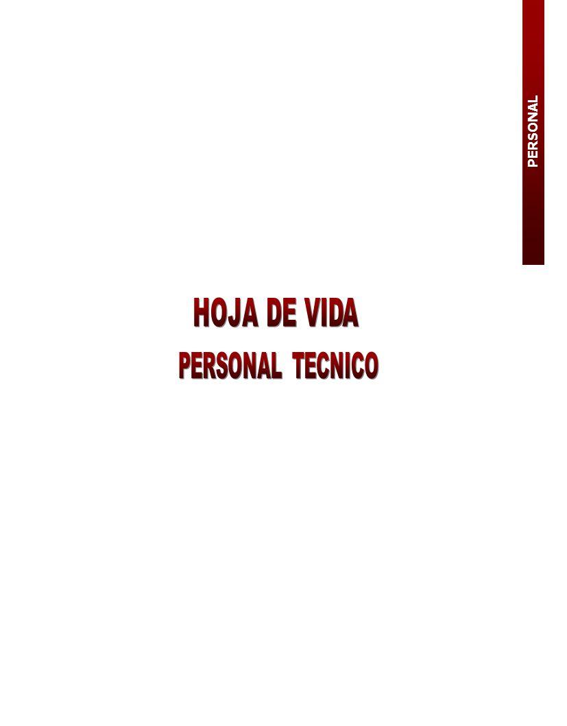 PERSONAL HOJA DE VIDA PERSONAL TECNICO