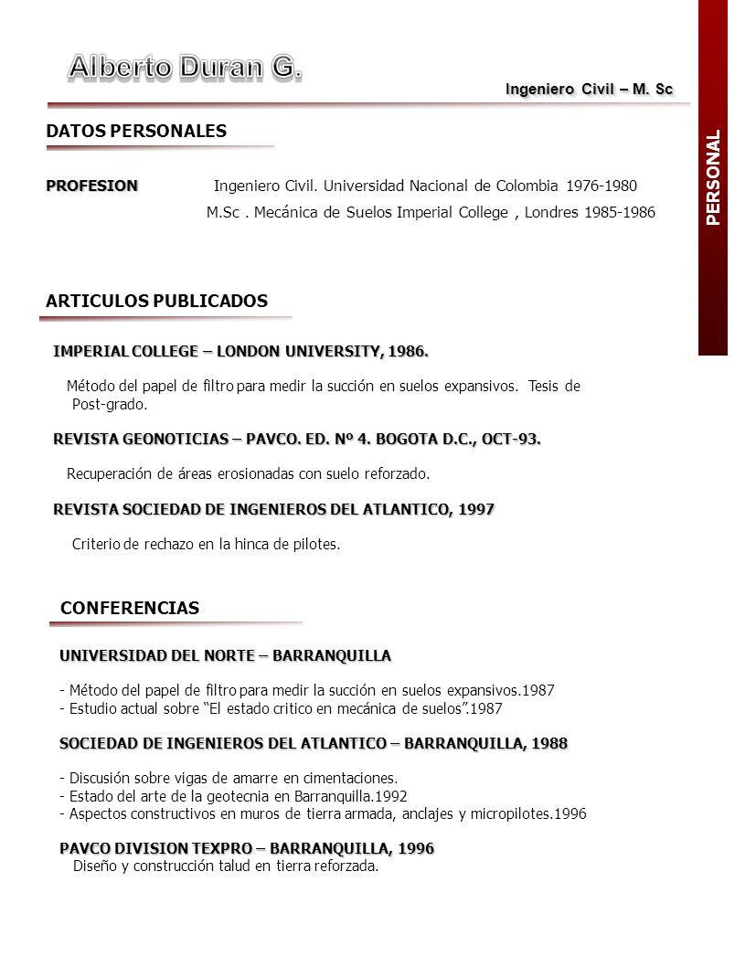 Alberto Duran G. DATOS PERSONALES PERSONAL ARTICULOS PUBLICADOS
