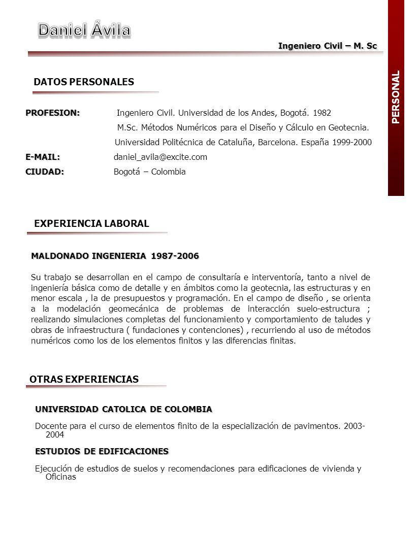 Daniel Ávila DATOS PERSONALES PERSONAL EXPERIENCIA LABORAL