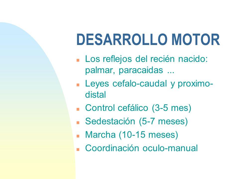23/03/2017DESARROLLO MOTOR. Los reflejos del recién nacido: palmar, paracaidas ... Leyes cefalo-caudal y proximo-distal.