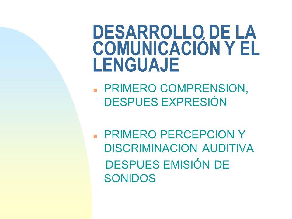 DESARROLLO DE LA COMUNICACIÓN Y EL LENGUAJE