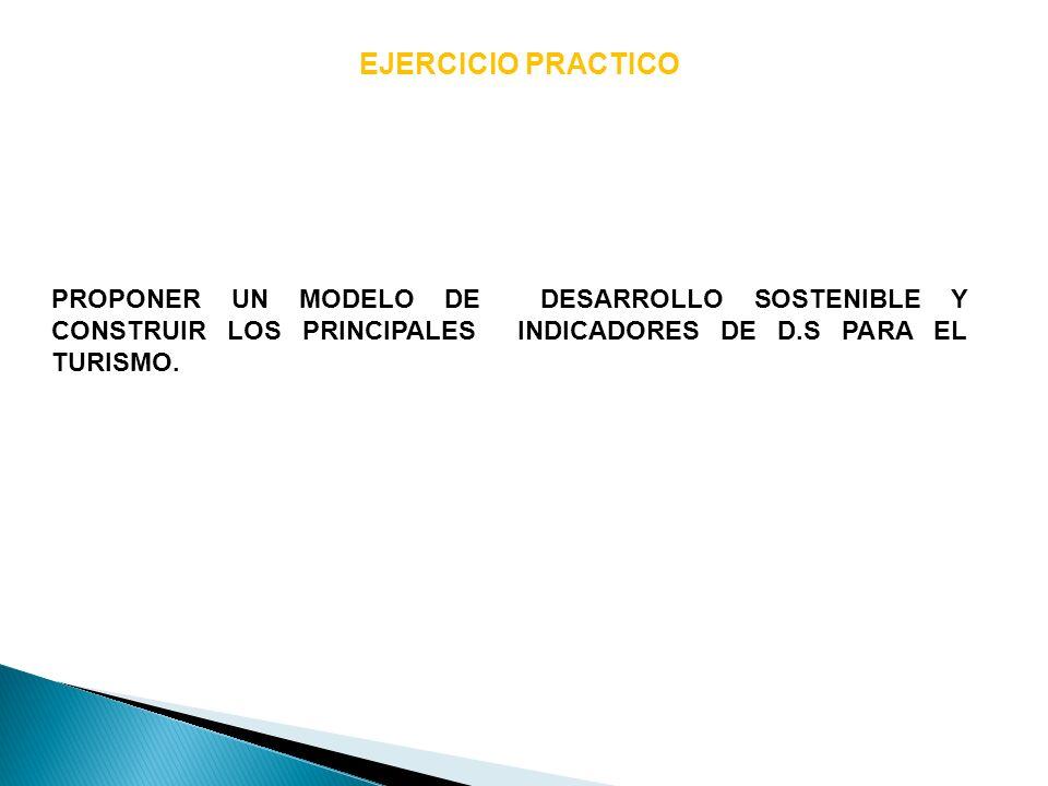 EJERCICIO PRACTICOPROPONER UN MODELO DE DESARROLLO SOSTENIBLE Y CONSTRUIR LOS PRINCIPALES INDICADORES DE D.S PARA EL TURISMO.