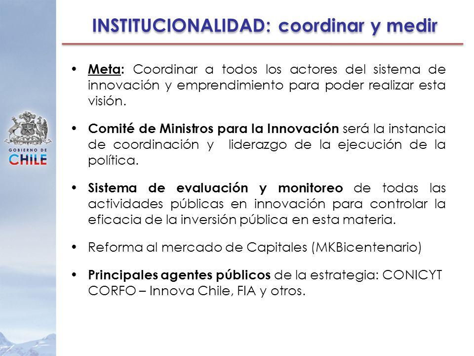 INSTITUCIONALIDAD: coordinar y medir