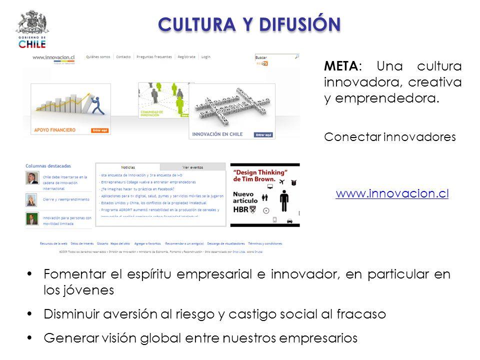 CULTURA Y DIFUSIÓN META: Una cultura innovadora, creativa y emprendedora. Conectar innovadores. www.innovacion.cl.