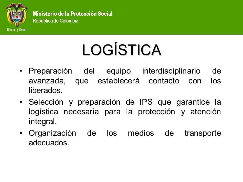 LOGÍSTICA Preparación del equipo interdisciplinario de avanzada, que establecerá contacto con los liberados.