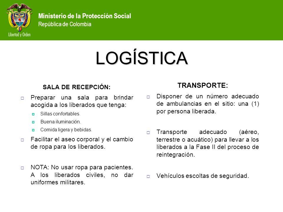 LOGÍSTICA TRANSPORTE: SALA DE RECEPCIÓN: