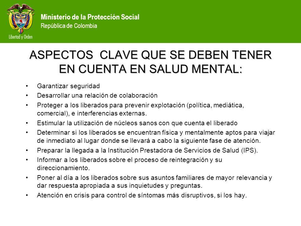 ASPECTOS CLAVE QUE SE DEBEN TENER EN CUENTA EN SALUD MENTAL: