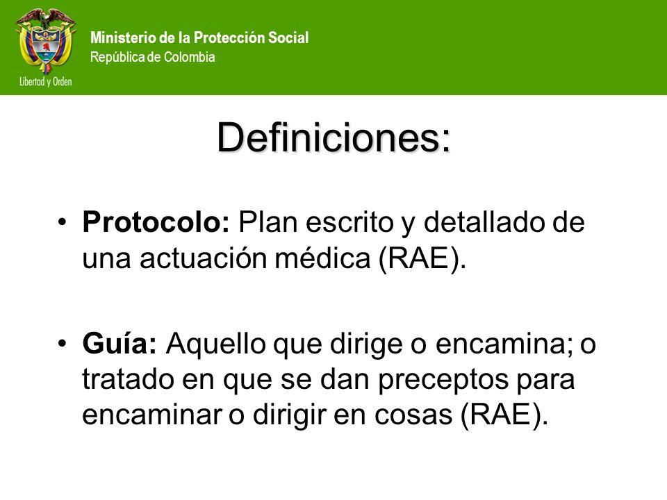 Definiciones: Protocolo: Plan escrito y detallado de una actuación médica (RAE).