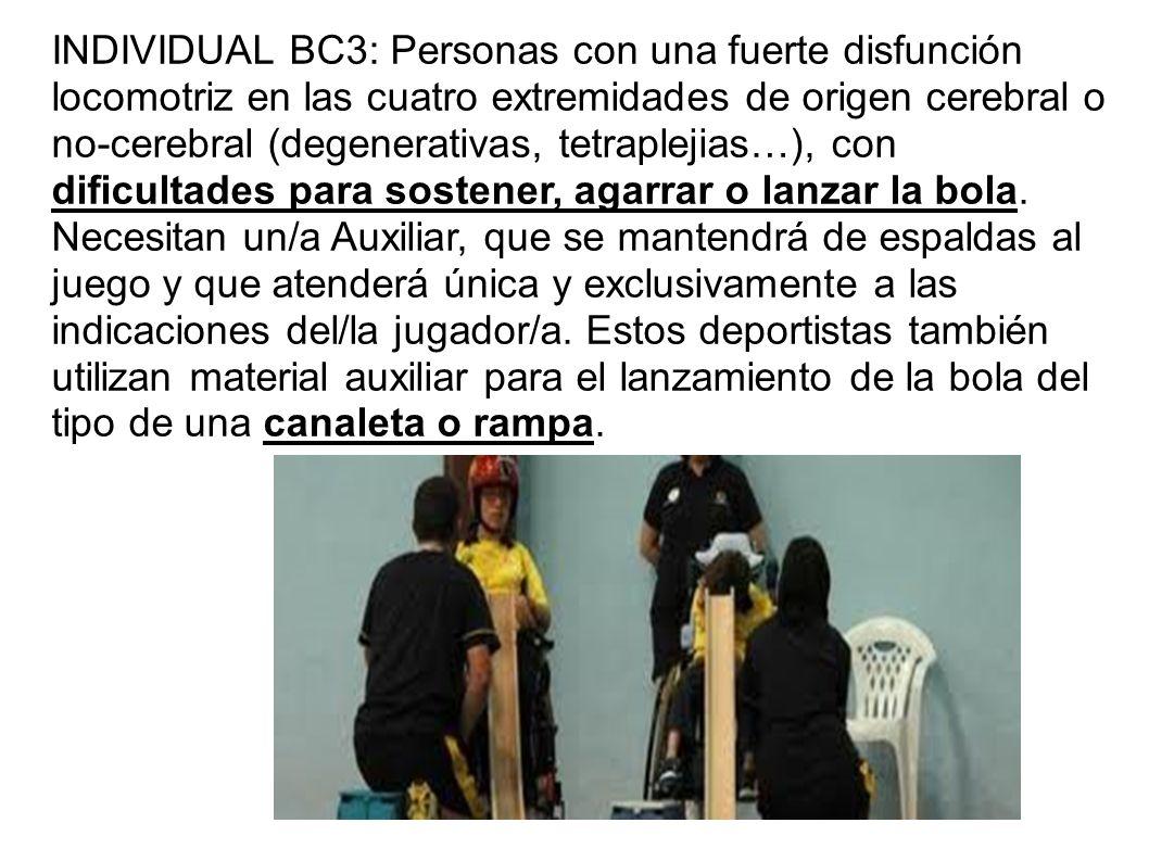 INDIVIDUAL BC3: Personas con una fuerte disfunción locomotriz en las cuatro extremidades de origen cerebral o no-cerebral (degenerativas, tetraplejias…), con dificultades para sostener, agarrar o lanzar la bola.