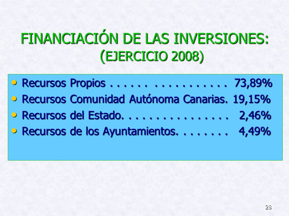 FINANCIACIÓN DE LAS INVERSIONES: (EJERCICIO 2008)