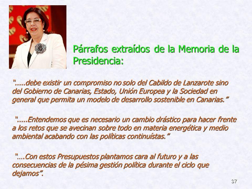 Párrafos extraídos de la Memoria de la Presidencia: