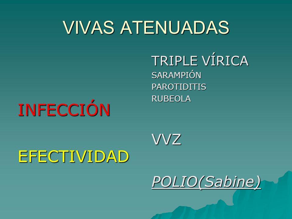 VIVAS ATENUADAS INFECCIÓN EFECTIVIDAD VVZ POLIO(Sabine) TRIPLE VÍRICA
