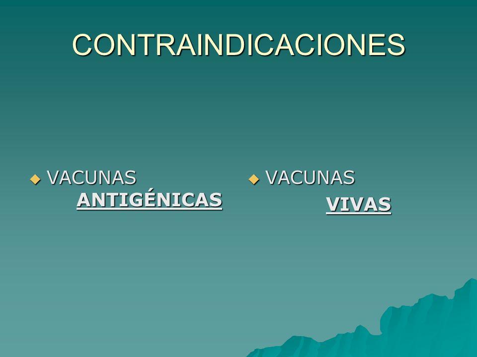CONTRAINDICACIONES VACUNAS ANTIGÉNICAS VACUNAS VIVAS