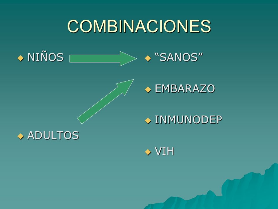 COMBINACIONES NIÑOS ADULTOS SANOS EMBARAZO INMUNODEP VIH