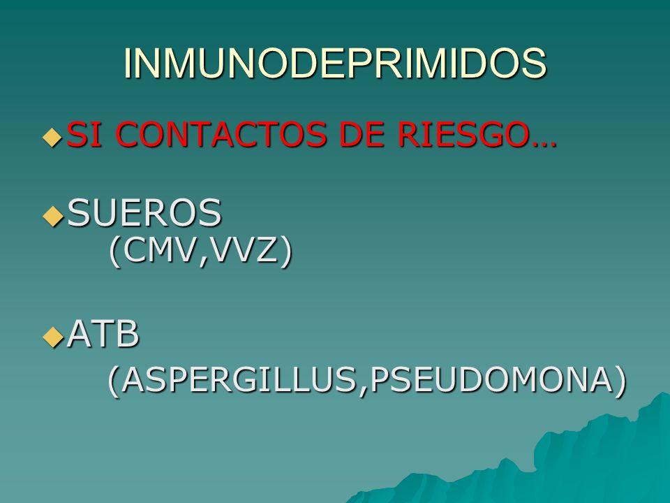 INMUNODEPRIMIDOS SUEROS (CMV,VVZ) ATB (ASPERGILLUS,PSEUDOMONA)