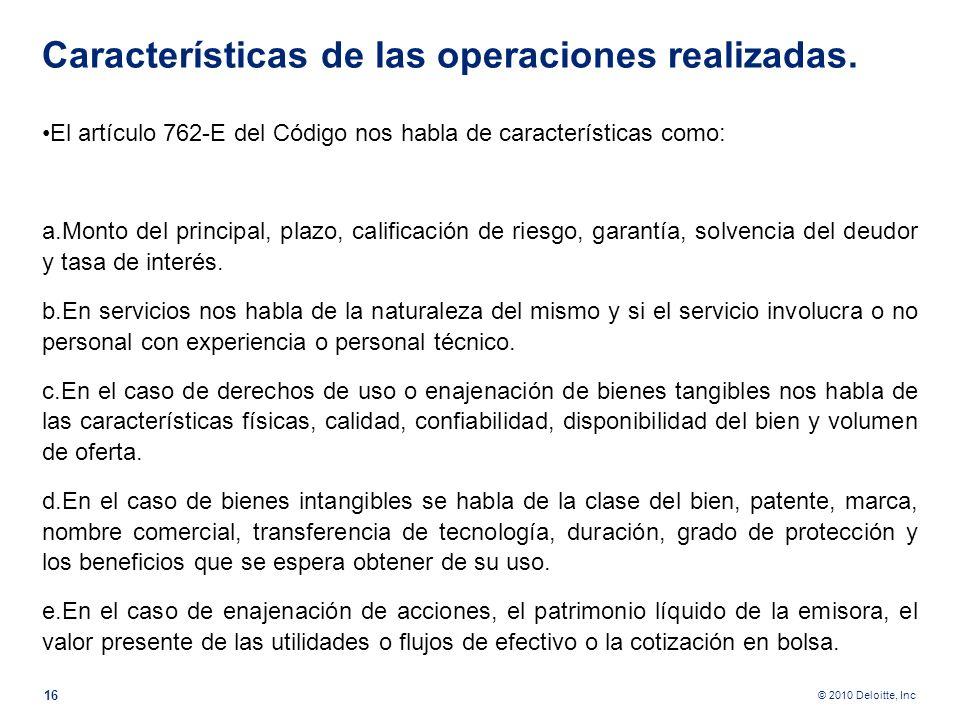 Características de las operaciones realizadas.