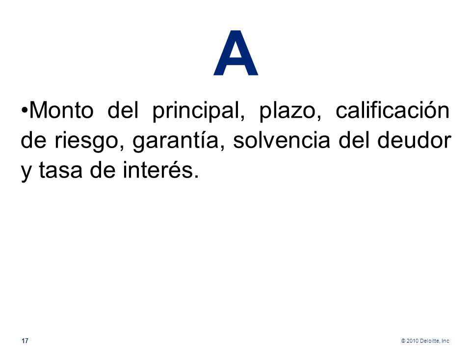 AMonto del principal, plazo, calificación de riesgo, garantía, solvencia del deudor y tasa de interés.