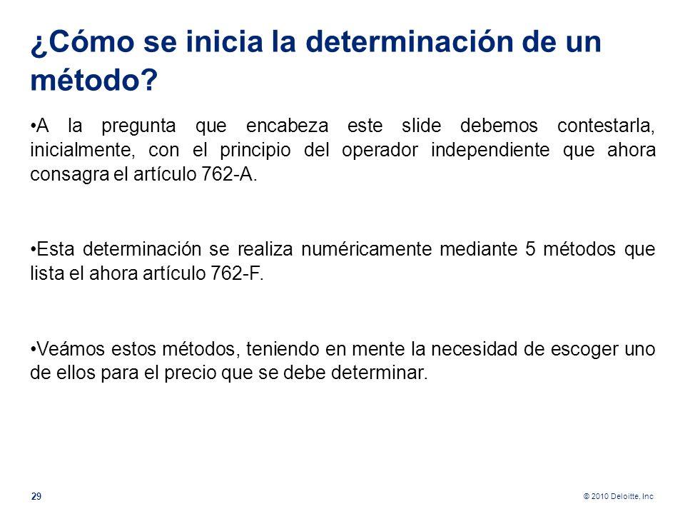 ¿Cómo se inicia la determinación de un método