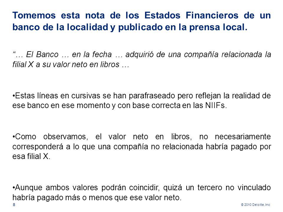 Tomemos esta nota de los Estados Financieros de un banco de la localidad y publicado en la prensa local.