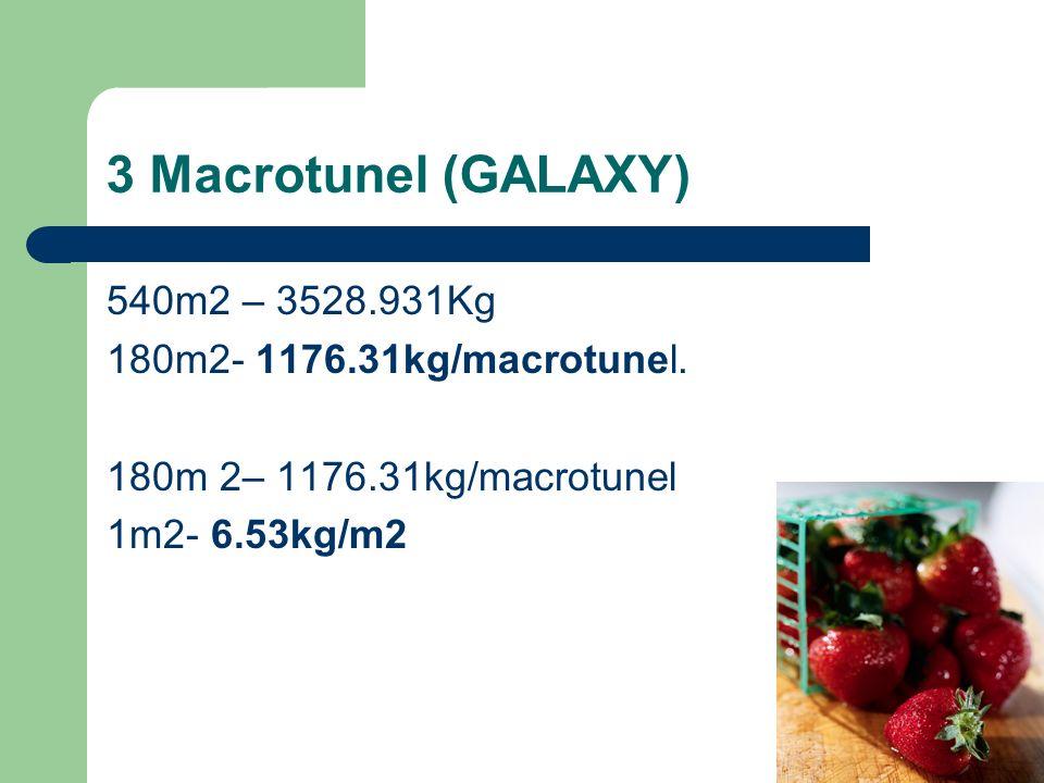 3 Macrotunel (GALAXY) 540m2 – 3528.931Kg 180m2- 1176.31kg/macrotunel.