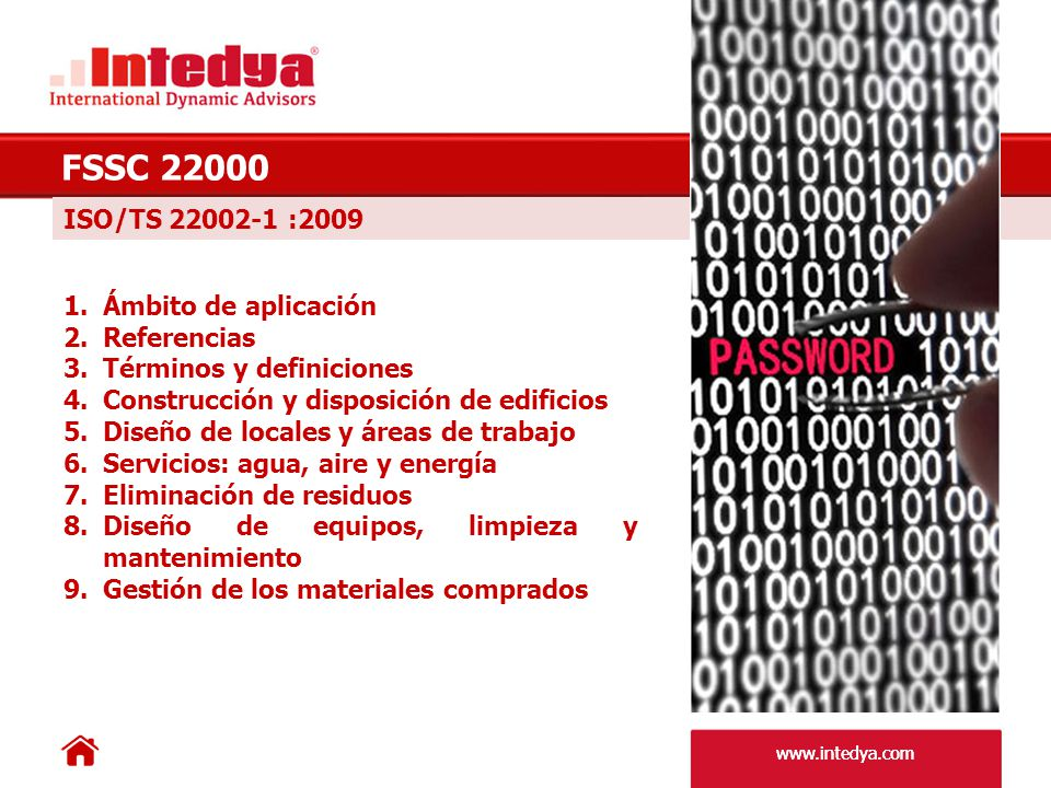 FSSC 22000 ISO/TS 22002-1 :2009 Ámbito de aplicación Referencias