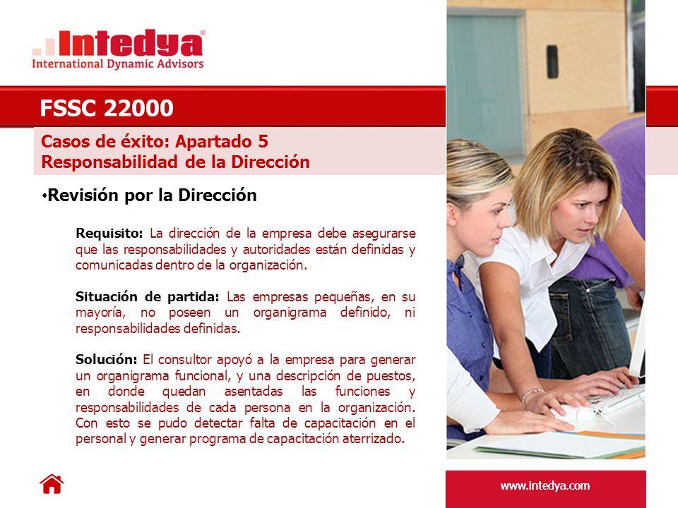 FSSC 22000 Casos de éxito: Apartado 5 Responsabilidad de la Dirección