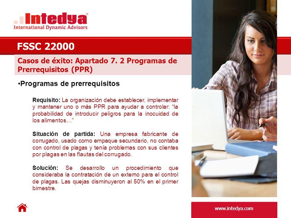 FSSC 22000 Casos de éxito: Apartado 7. 2 Programas de
