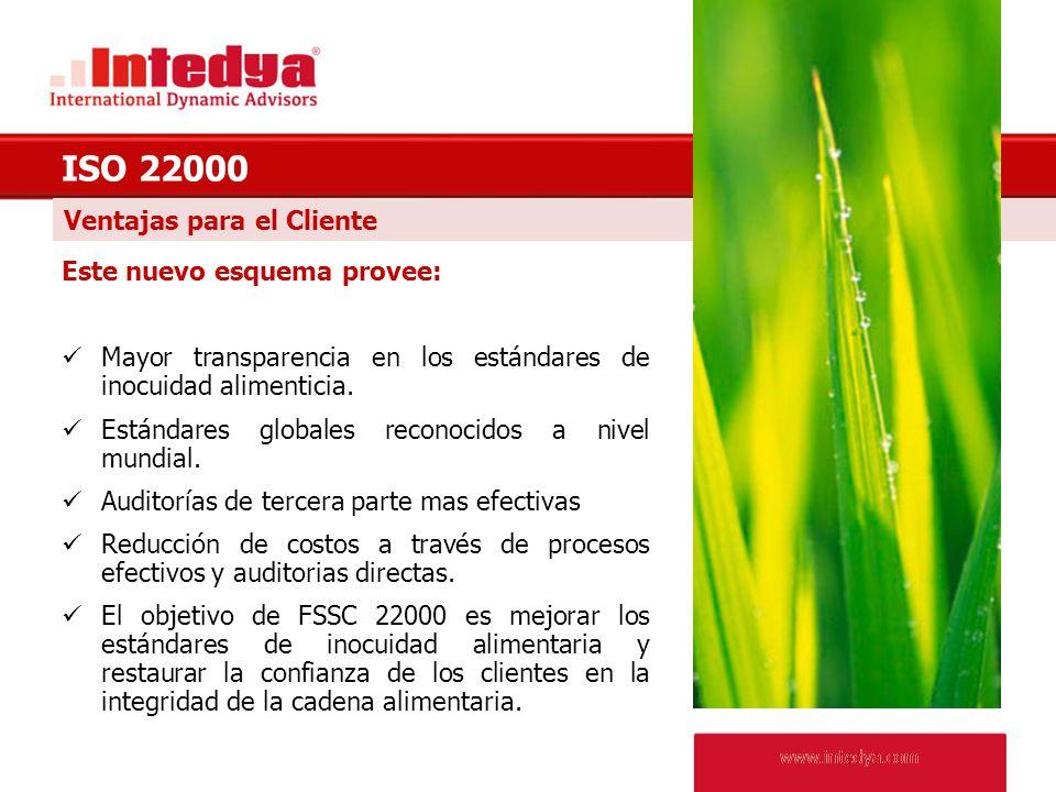 ISO 22000 Ventajas para el Cliente Este nuevo esquema provee: