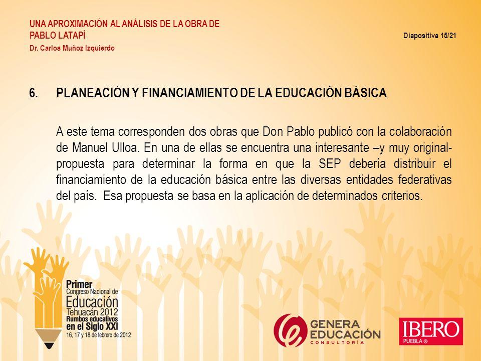 PLANEACIÓN Y FINANCIAMIENTO DE LA EDUCACIÓN BÁSICA